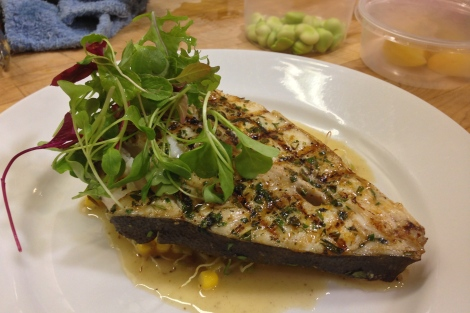 """Grilled Halibut Steak with Organic Vegetable (Asparagus, Beets, Corn, Fava and Sprouts) - Chef's version as ours were """"to go"""""""